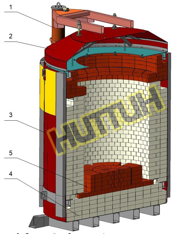 Внутренний разрез шахтной Электропечи СШО-13.13_8-ИМ-НИТТИН (нагревательные элементы не показаны)_